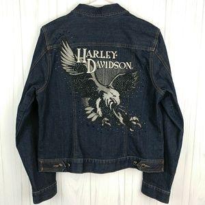 Harley Davidson Embroidered Embellished Jacket EUC